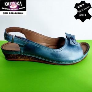 386-А-син  KARYOKA ниски кожени сандали