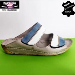 735-бежово-KARYOKA кожени дамски чехли
