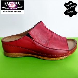 780-червено-KARYOKA чехли естествена кожа