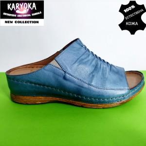 780-син-KARYOKA чехли естествена кожа