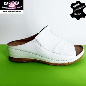 780-бял-KARYOKA чехли естествена кожа