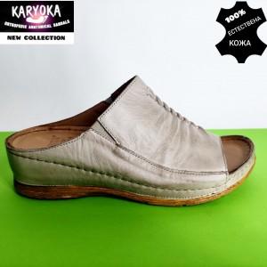780-бежово-KARYOKA чехли естествена кожа
