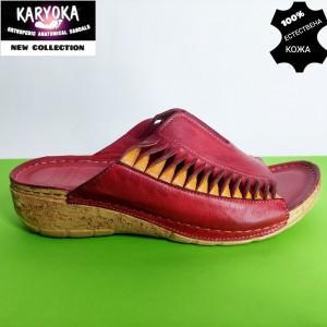 781-червено-KARYOKA чехли естествена кожа