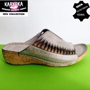781-бежово-KARYOKA чехли естествена кожа