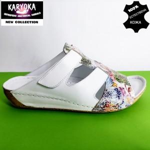 736-бяло-KARYOKA кожени дамски чехли