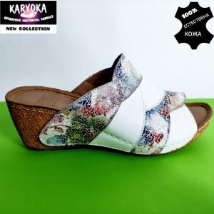 746-бяло-KARYOKA чехли естествена кожа