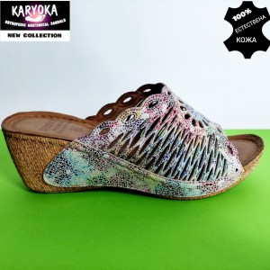 758-шарен-KARYOKA чехли естествена кожа